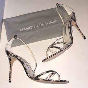 MANOLO BLAHNIK snakeskin paloma heels size 41